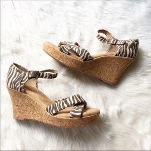 White Mountain Animal Print Cork Bottom Sandals